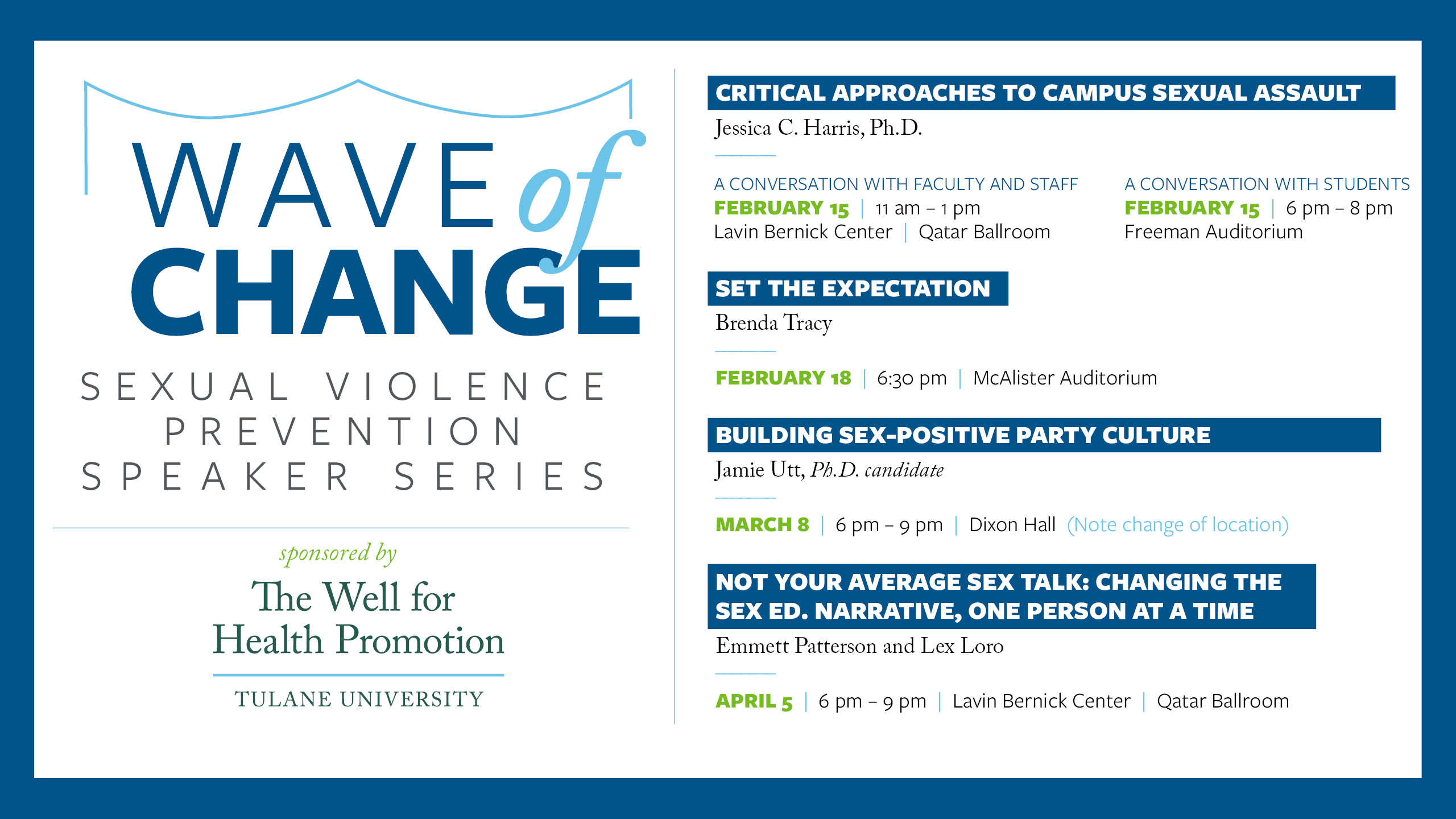 Wave of Change Sexual Violence Prevention Speaker Series 2018